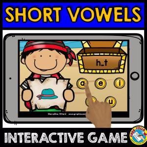 SHORT VOWEL SOUNDS (CVC WORDS INTERACTIVE GAME) KINDERGARTEN PHONICS    MEDIAL VOWEL GAME (CVC WORDS INTERACTIVE GAME): short a words, short e words, short i words, short o words, short u words.    This pirate themed interactive fun game is an ideal resource to revise medial vowel sounds. Children have to identify the missing vowel in a cvc word and click the coin with the corresponding short vowel (a/e/i/o/ul).    Let the children enjoy playing while learning!