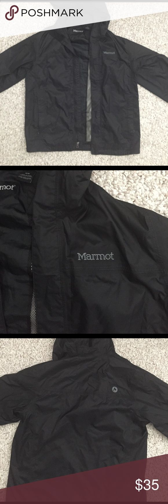 Marmot women's rain jacket Black marmot rain jacket. Women's size medium. Great condition! Marmot Jackets & Coats Utility Jackets