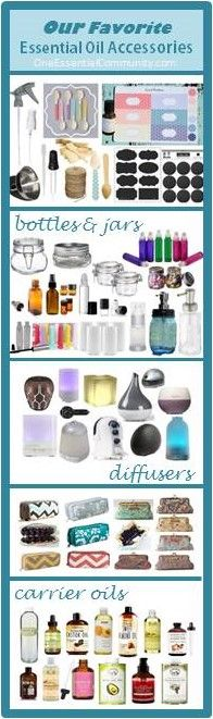 best essential oil supplies & accessories- diffusers, carrier oils, bottles & containers, bags, books, labels, and more!!