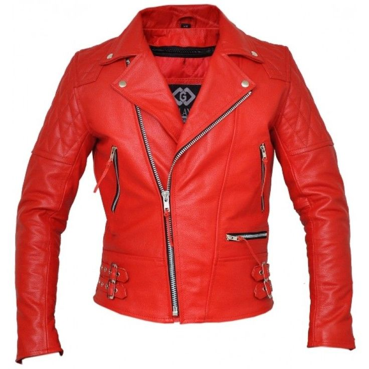 Classic Diamond Red Motorcycle Armoured Leather Jacket