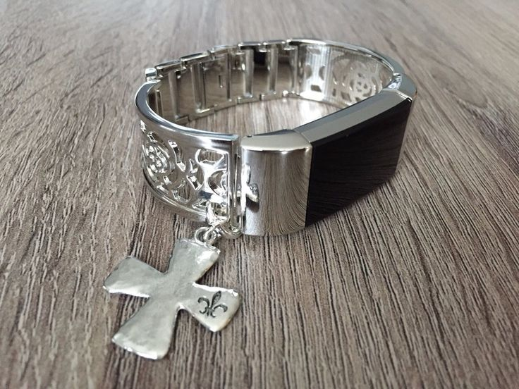 Handmade Jewelry Silver Metal Flower Band Christian Cross For Fitbit Charge 2 #jewelrysilver