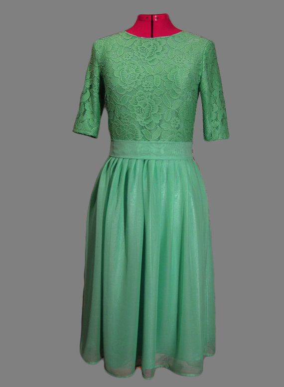 Mint green bridesmaid dress with sleeves Mint by AliceBerryFashion