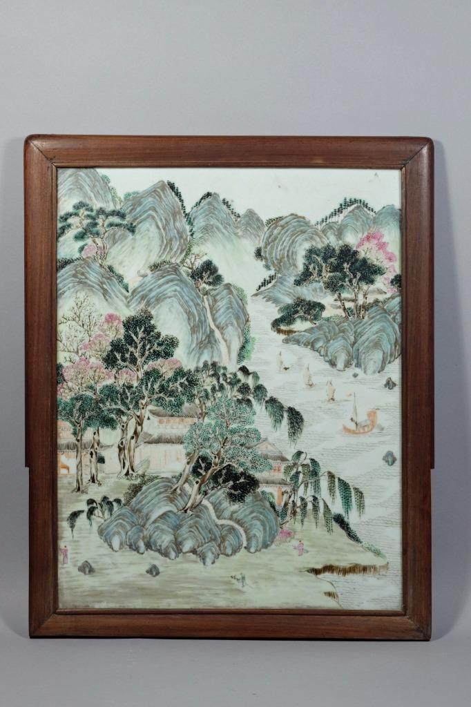 A Chinese Wood Framed Porcelain Tile