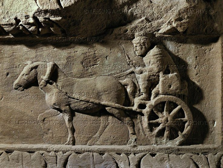A man driving a small cart drawn by a horse. Relief on a funeral stele (2nd-3rd CE) Rheinisches Landesmuseum, Trier, Germany