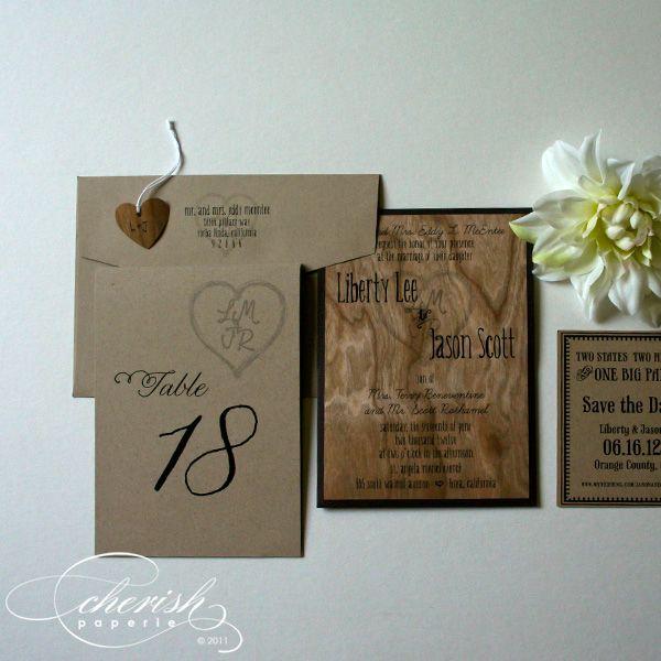 liberty lee rustic wedding invitation stationery