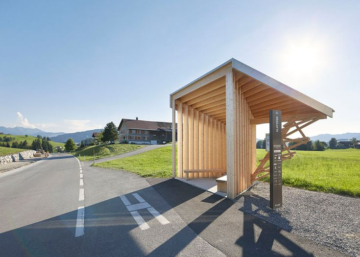 Architect-designed bus stops in Austria photographed by Hufton + Crow.