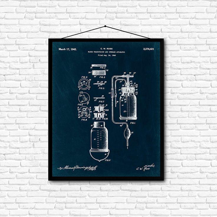 Blood Transfusion and Storage Apparatus Patent Print- 1940 - Poster Wall art…