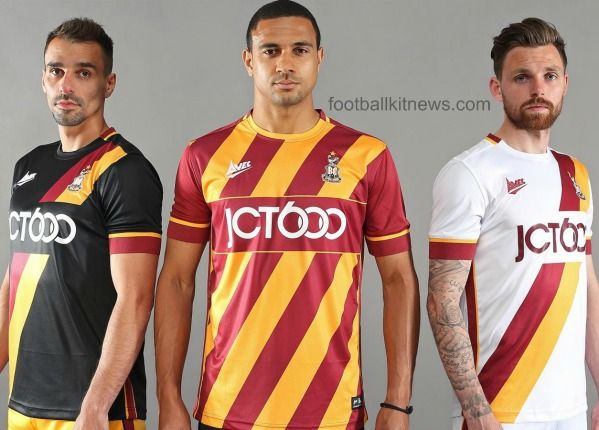 These are the new Bradford City shirts 2016/17, BCAFC's new uniforms for the upcoming League One season. Made by AVEC, the new kits were officially unveiled on May 28, 2016 by the club. The B…