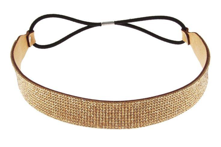 Women Fashion Elastic Rhinestone Crystal Gold Headband Head Chain Hair Band #LaCoquetaJewelry #Rhinestone #ebay