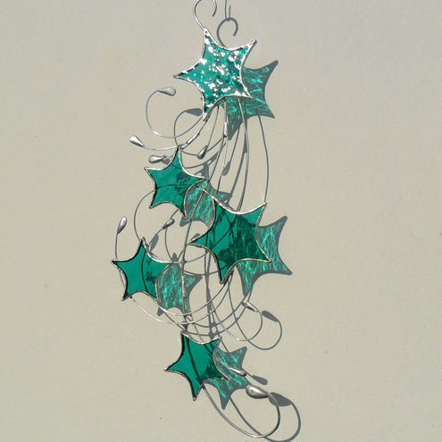 Stained Glass Suncatcher, Teal Green Stars & Swirls SuncatcherGlasses Suncatchers, Stainedglass, Swirls Suncatchers, Glasses Ideas, Stars Amp, Teal Green, Green Stars, Ravens Stained, Stained Glasses