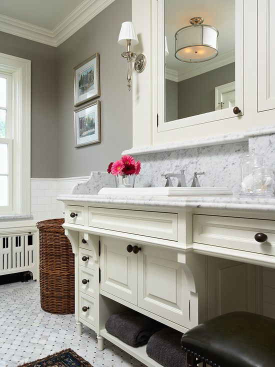 17 best images about gray walls red sofa on pinterest for Benjamin moore grey bathroom