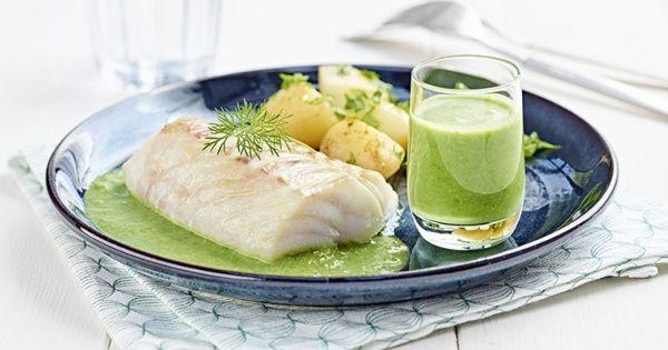 Ovengebakken kabeljauw met een frisgroene lentesaus