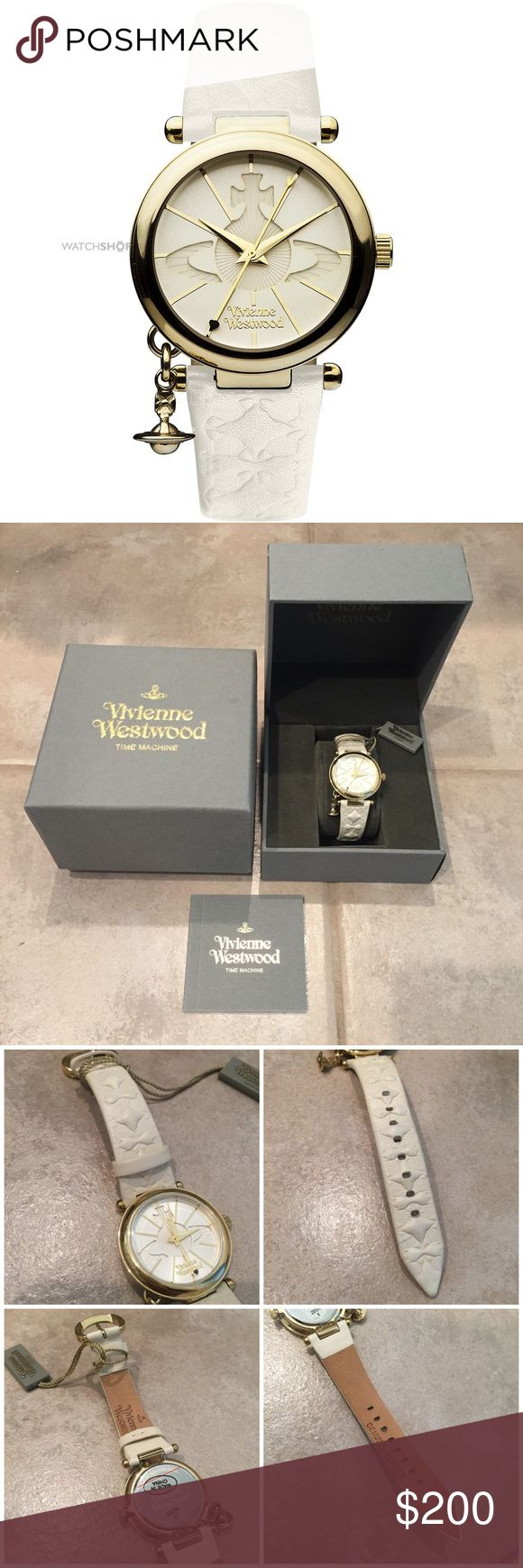 💯Vivienne Westwood Round Gold Leather Watch🌟 💯Authentic Vivienne Westwood    Gently used 2 times    Color: White & Gold    Battery Functioned    Comes with Full set    No Trade    PRICE IS FIRM💎DO NOT OFFER    All Sales Are Final    PP Price $160 Vivienne Westwood Accessories Watches