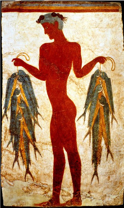 Fresco of a fisherman from the bronze age excavation of the minoan town Akrotiri on Santorini/Thira island, via mythpictures.