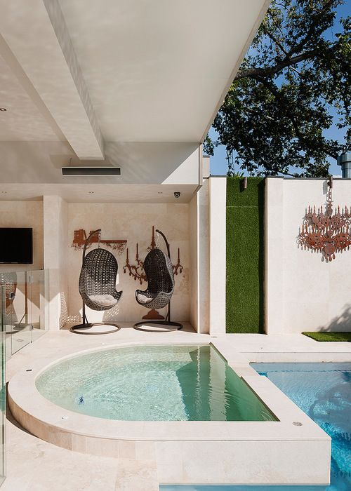 Transitional Pool and Spa Area by STUDIOMINT