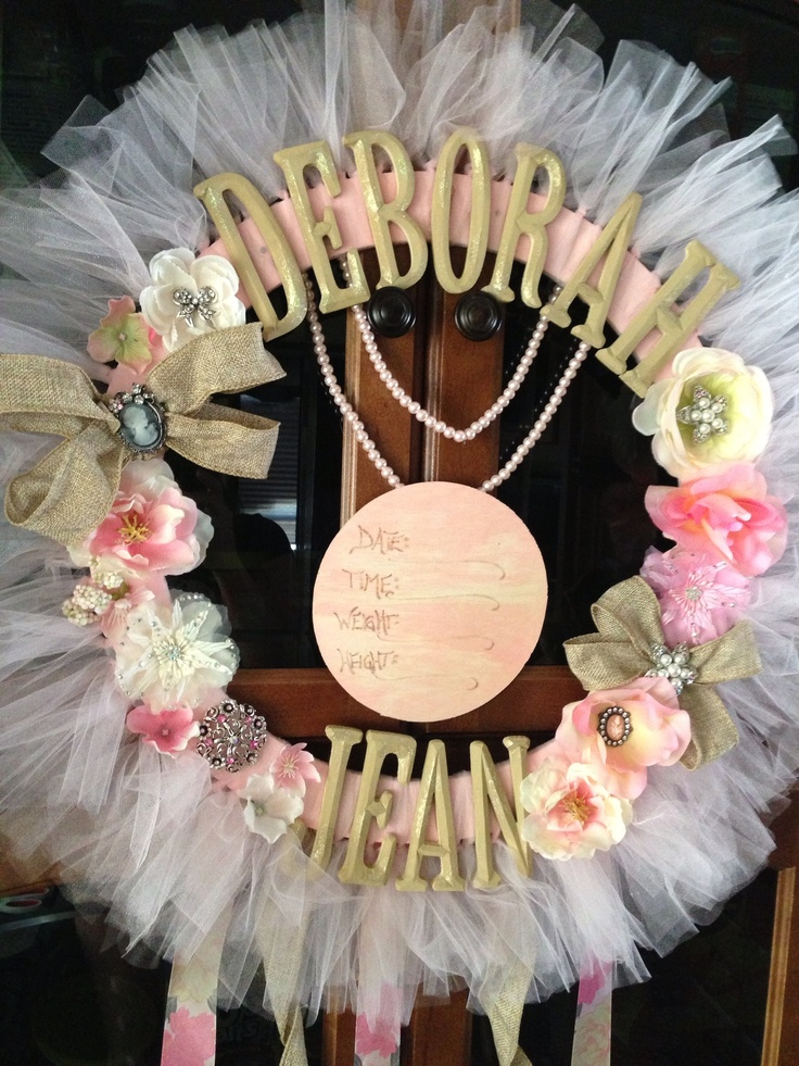Baby girl hospital door wreath hanger , shabby chic pretty girly pink