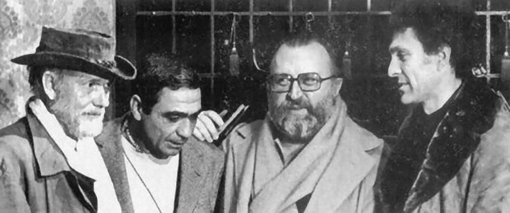 "Sam Peckinpah, cinematographer Giuseppe Rotunno, Sergio Leone and Monte Hellman on the set of 'China 9, Liberty 37,' 1978. The picture refer to Alex Cox's May 5, 2006 Guardian article: ""A bullet in the back."" [The Peckinpah Picture Page] Embedded..."