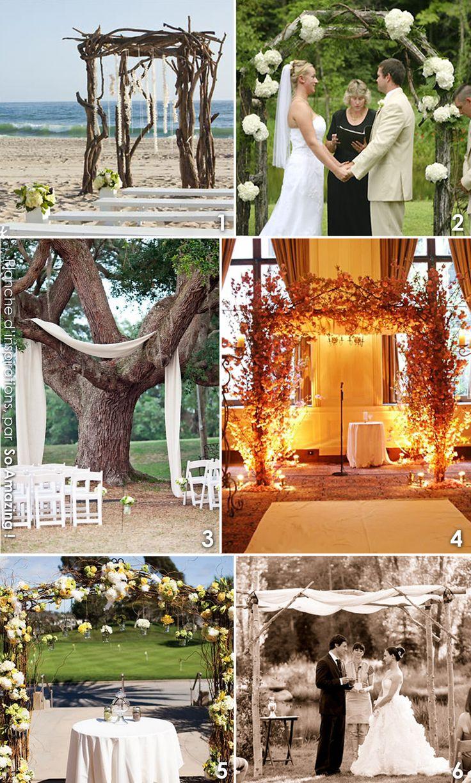 Decoration ceremonie laique engagement exterieur idees - Arche huppa rustique vintage nature chocolat anis bois branchages - Mariage deco florale champetre