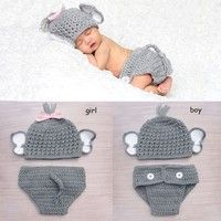 Wish | Crochet Baby Elephant Costume Knitted Baby Hat and Diaper Pants Set Newborn Baby Animal Photography Props
