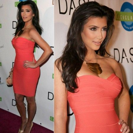 Kim Kardashian Strapless Orange Bandage Dress