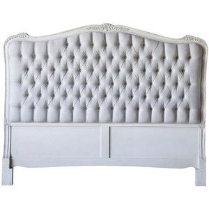 French Weathered White Tufted Headboard