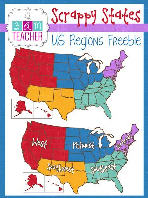 FREE US REGIONS Clipart by The 3AM Teacher!!