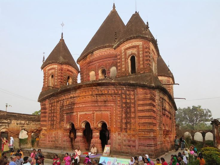 The 19th century Govinda Temple at Puthia, Bangladesh, is a popular pilgrimage site for Krishna devotees.