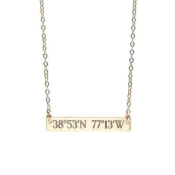 GPS COORDINATES necklace  gold coordinate  silver by MyBelovedCo