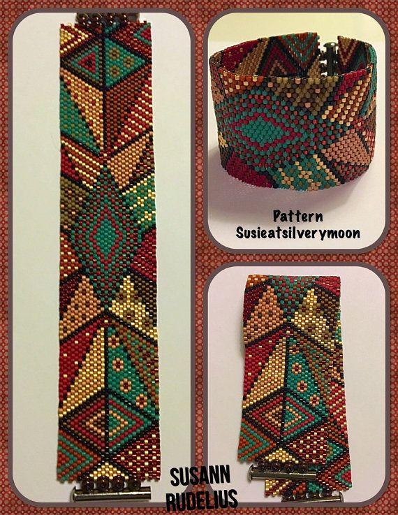 Peyote Stitch Beading Bracelet Pattern   Antique Mosaic