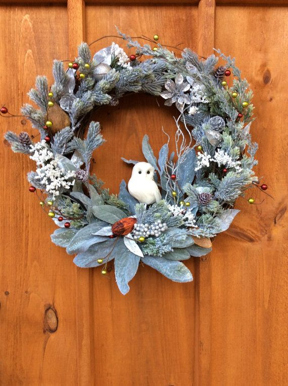 Snowy Owl Christmas Wreath, Winter, Front Door, Grapevine Wreath, Wildlife, Artificial Silk Flower Wall Decor, Made In Canada