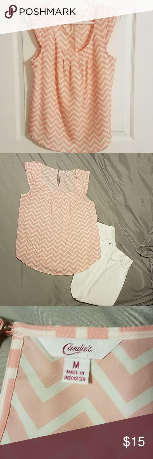 Candies chevron top Like new Candie's pink chevron top with peep hole back closure.  Very light and super cute! Candie's Tops Blouses
