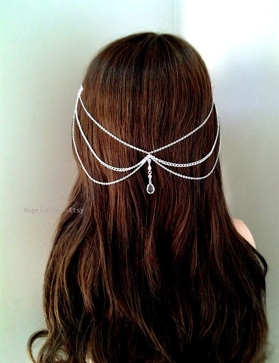 Gold or Silver bridal hair jewelry tiara silver by AngelsCrowns