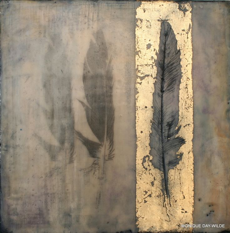 title unknown ~ encaustic ~ by monique day-wilde. Feathers. Beautiful                                                                                                                                                                                 More