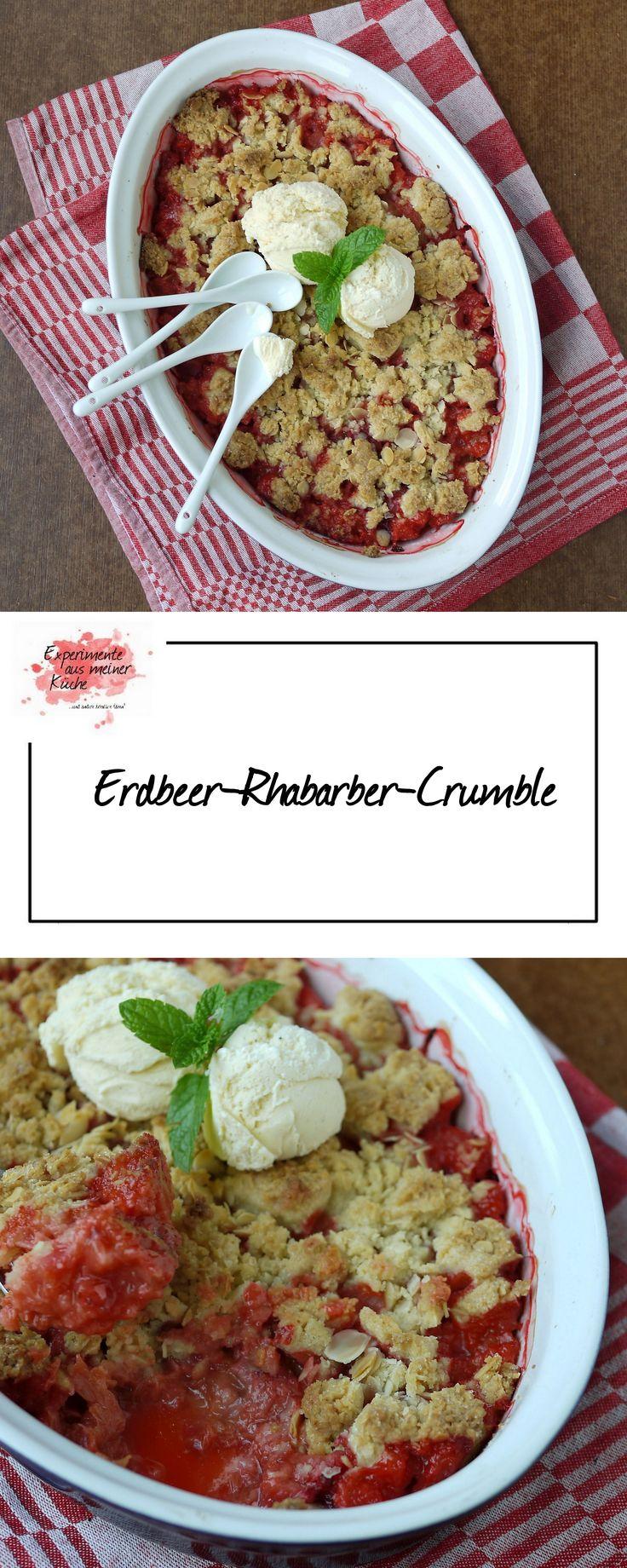 Experimente aus meiner Küche: Erdbeer-Rhabarber-Crumble mit Mandeln
