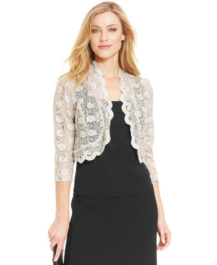 R&M Richards Scalloped Sequin Lace Bolero - Sweaters - Women - Macy's