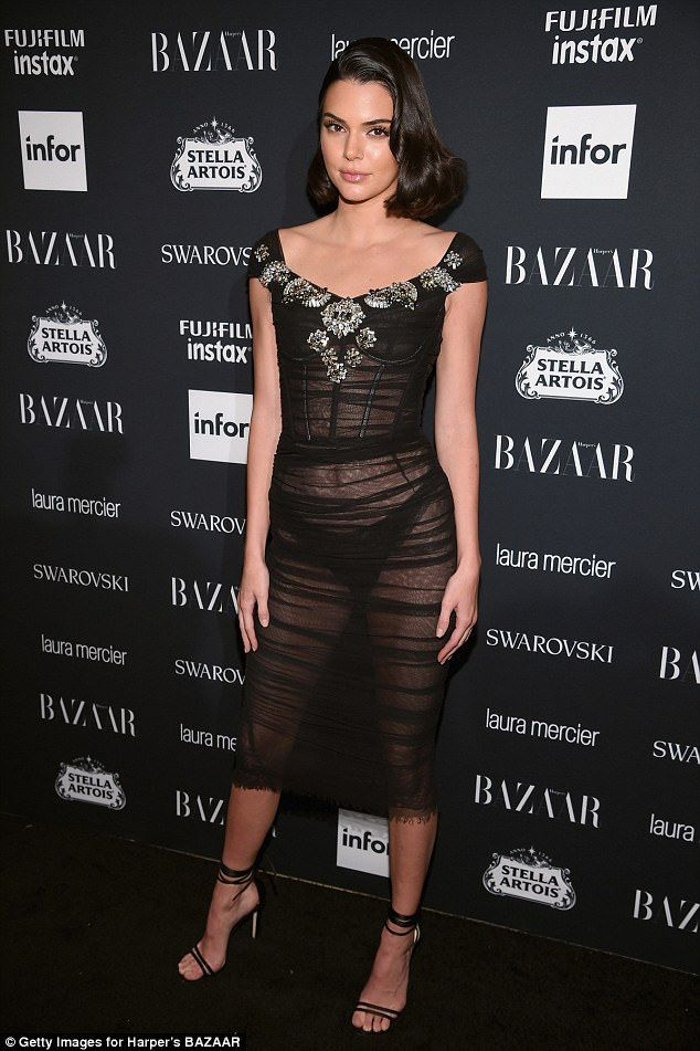 Wow factor:Kendall Jenner swapped out her Giambattista Valli tulle dress for a sheer number on Friday at the Harper Bazaar Celebration of ICONS By Carine Roitfeld