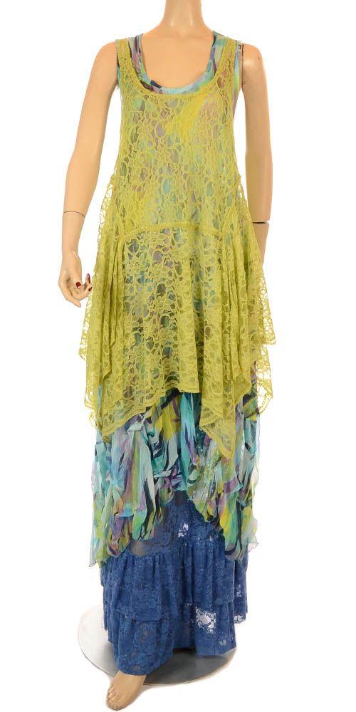 Kamuflage Summer Pistachio Flower Lace Layering Tunic-Kamuflage , lagenlook…