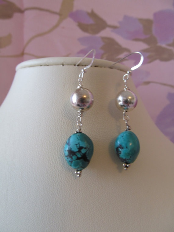 Traditional Turquoise & Sterling Silver by DragonHeadJewelsToo, $15.00