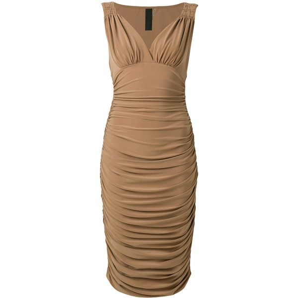 Norma Kamali Tara bodycon dress ($259) ❤ liked on Polyvore featuring dresses, v neck sleeveless dress, v neckline dress, sleeveless dress, ruched dress and bodycon dresses