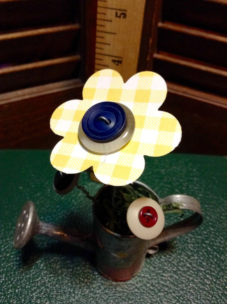 BUTTON BOUQUET sm watering can rustic yellow, vintage buttons, flowers, upcycle, repurposed, gift, home decor by EffiesEclecticCloset on Etsy