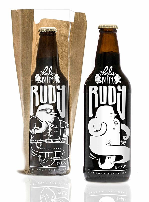Rudy & Billy - Beer Bottled Wine by NEAR NOSIS. Something cheeky and fun through the creation of a pair of characters with a lowbrow, cartoonish look. (Billy in link). Presentation-wise, I like how the printed design works with the bottle shape, and it appears that removing its packaging also undresses the characters, which I thought was a clever twist and adds to the idea of subversion that beer bottled wine appears to promote.