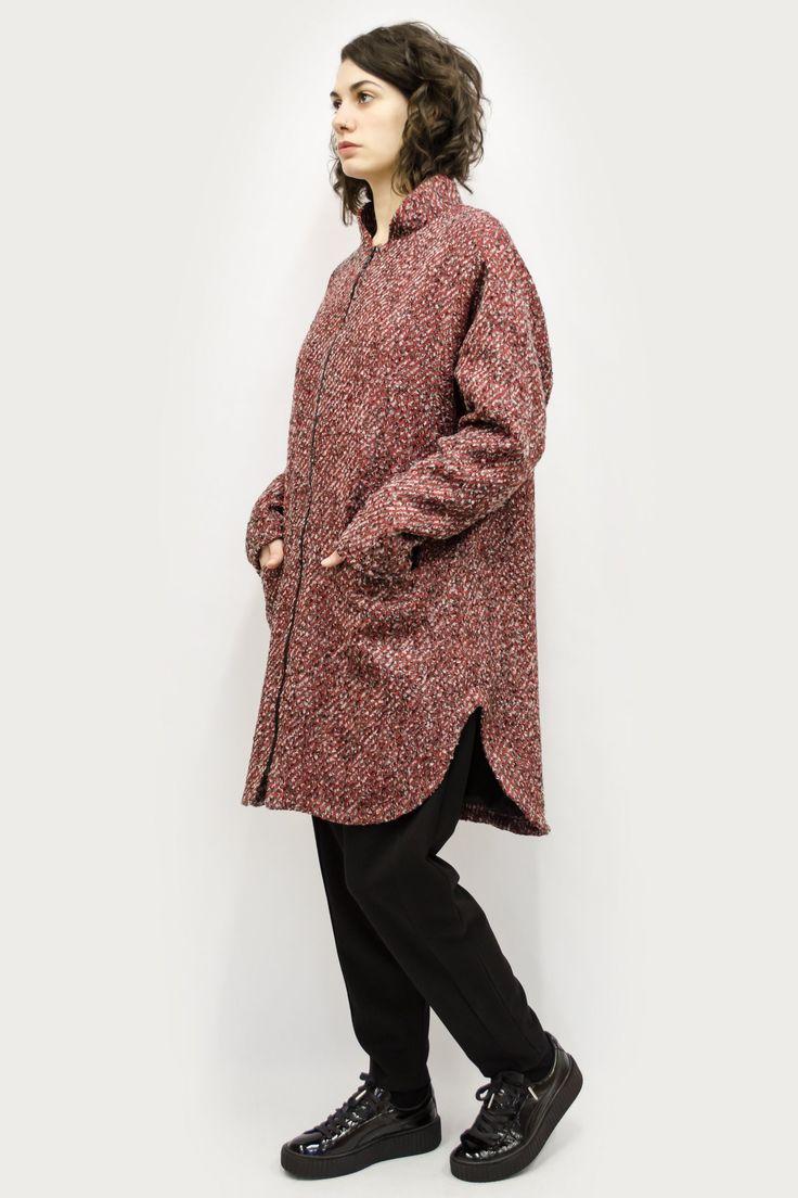 Coat Tetsu in Diagonal Pattern Colors