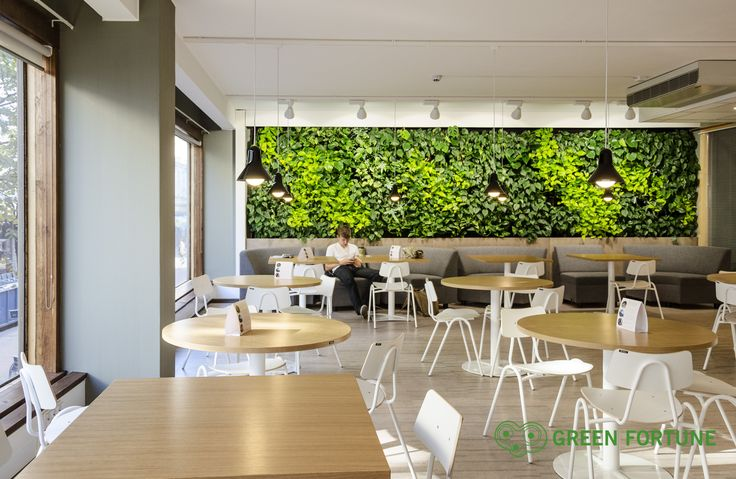 Green Fortune plantwall / vertical garden in restaurant, food retail. Finland.