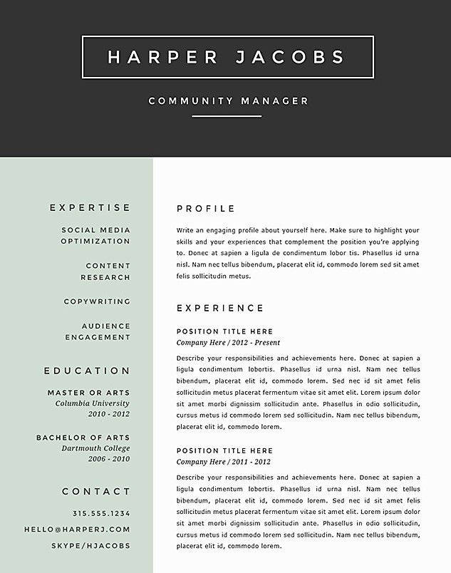 17 Best images about Resume Templates on Pinterest | Creative ...