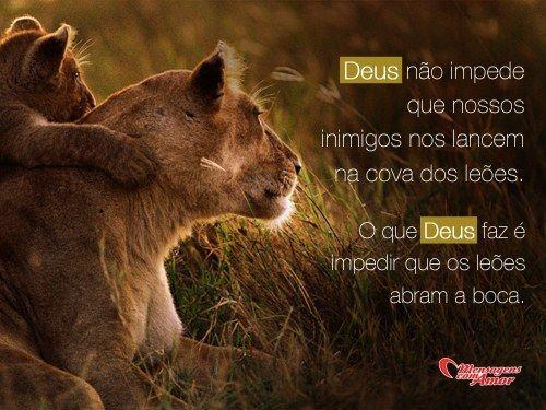 Deus não impede que nossos inimigos nos lancem na cova dos leões. O que Deus faz é impedir que os leões abram a boca. #Deus