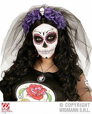 Sluier met paarse rozen en een schedeltje voor Halloween