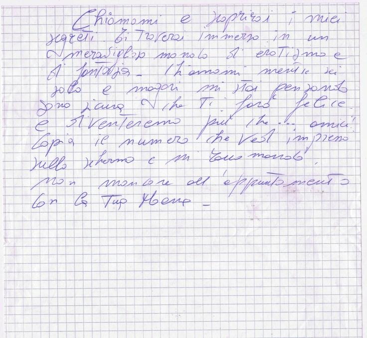 Un appunto scritto da Moana Pozzi. Assolutamente inedito e gentilmente concesso da Debora Attanasio