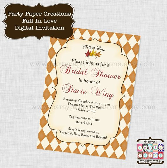 fall in love bridal shower invitation by