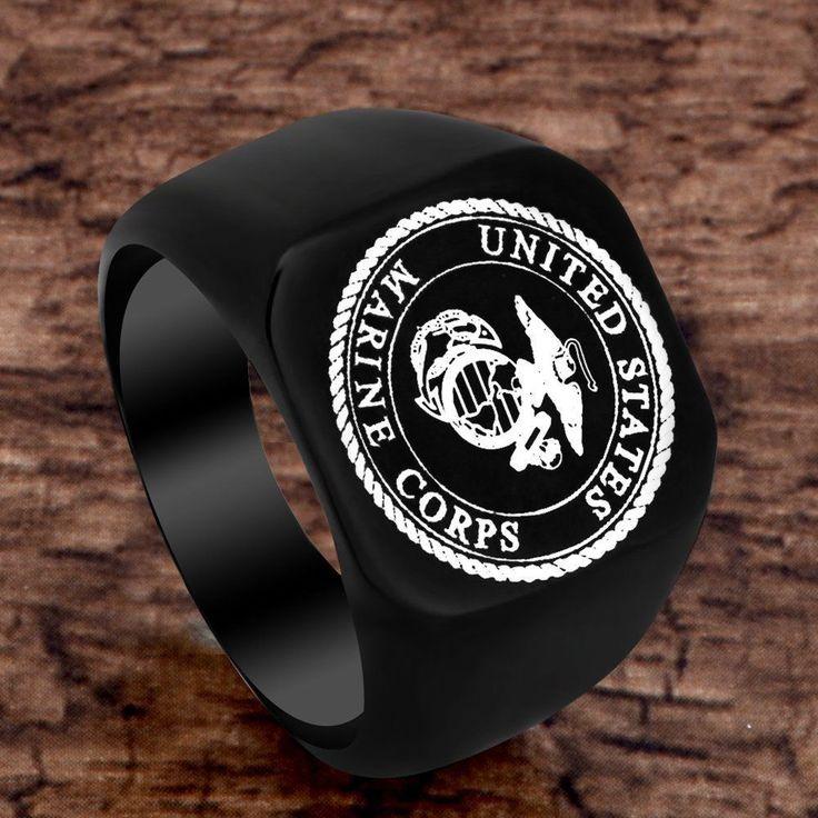 Unisex Gothic Stainless Steel US Marine Corps Rings Mens Ring Band Biker Black | eBay