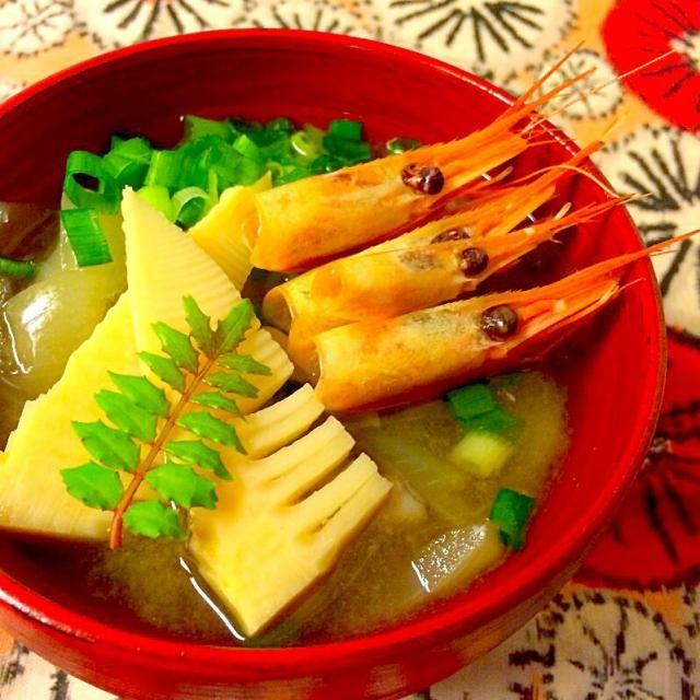 新玉ねぎとたけのこと甘エビのお汁 - 12件のもぐもぐ - お味噌汁 by tami18